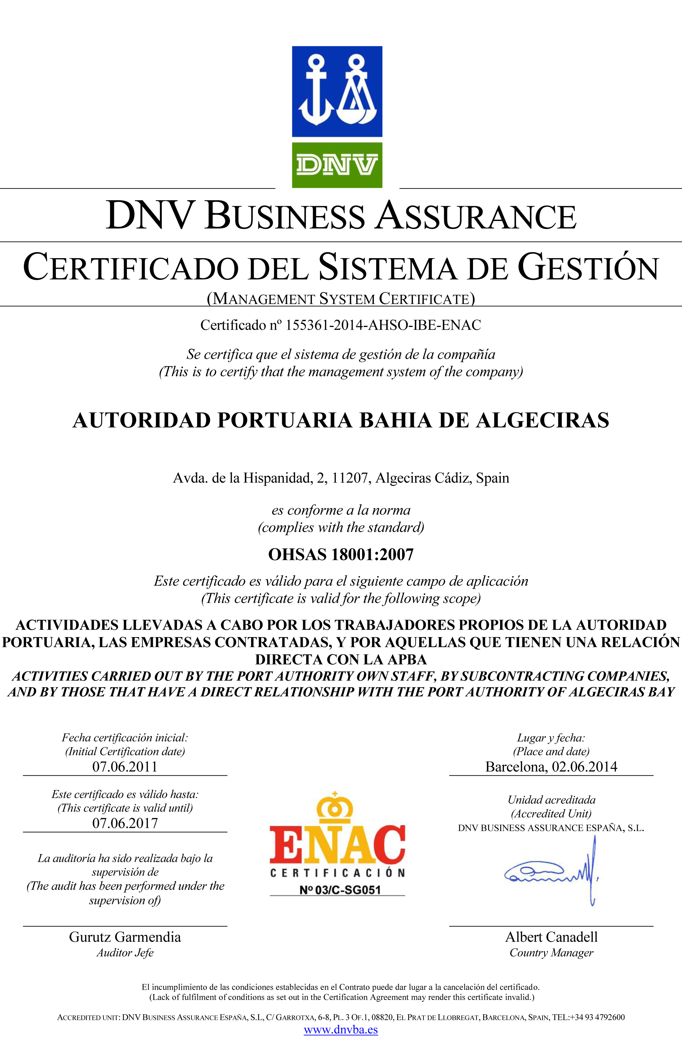 Certificado DNV BUSINESS ASSURANCE